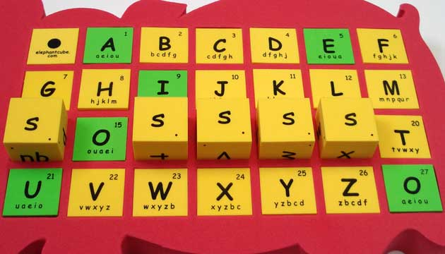 english alphabet spelling dice