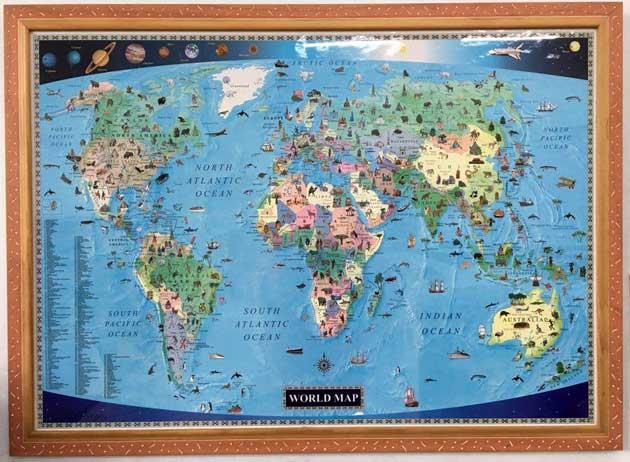 教室 兒童英文世界地圖 彩色 彩繪
