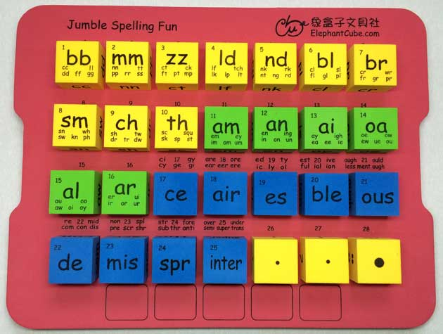 english phonics word family families cubes