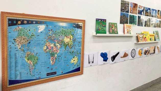 兒童英文世界地圖 教室佈置 彩色 彩繪
