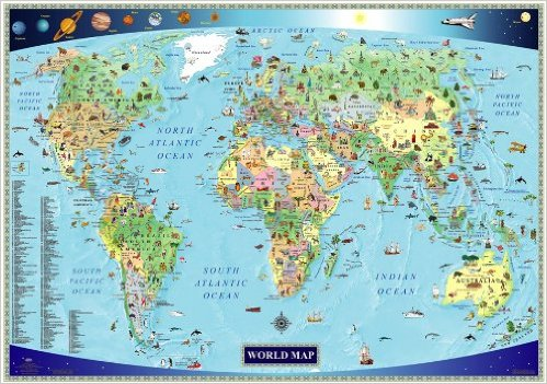 兒童英文世界地圖 kids children english world map
