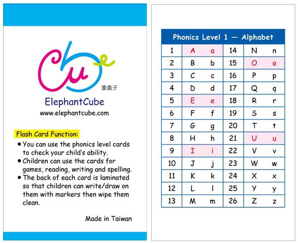 alphabets flashcards