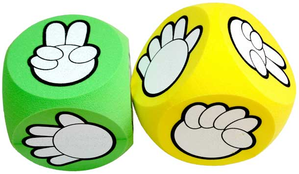 rock paper scissors stone rps game dice giant soft foam cubes